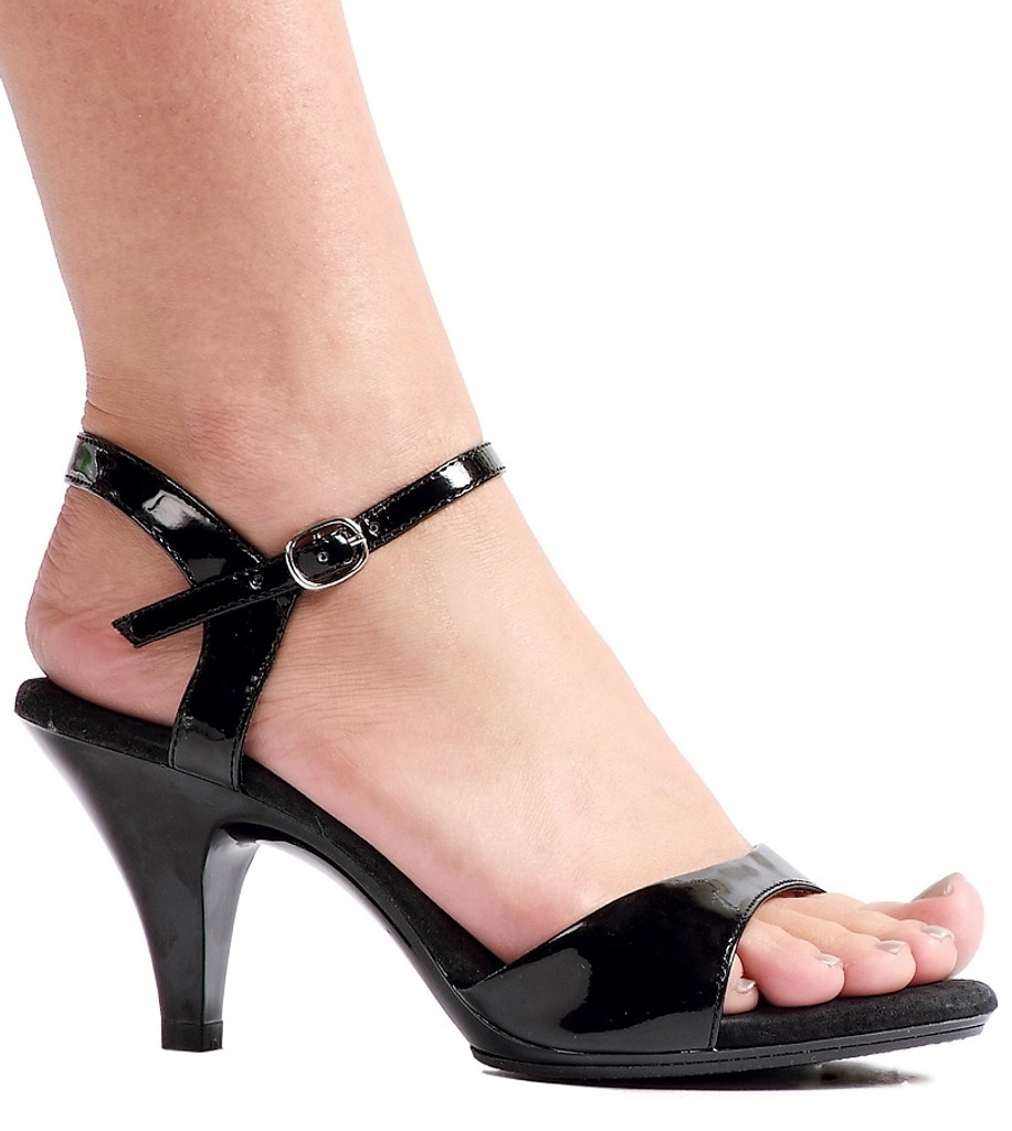 "3"" Heel Sandals in Black or Silver - Plus Sizes - Sz 5 through 16"