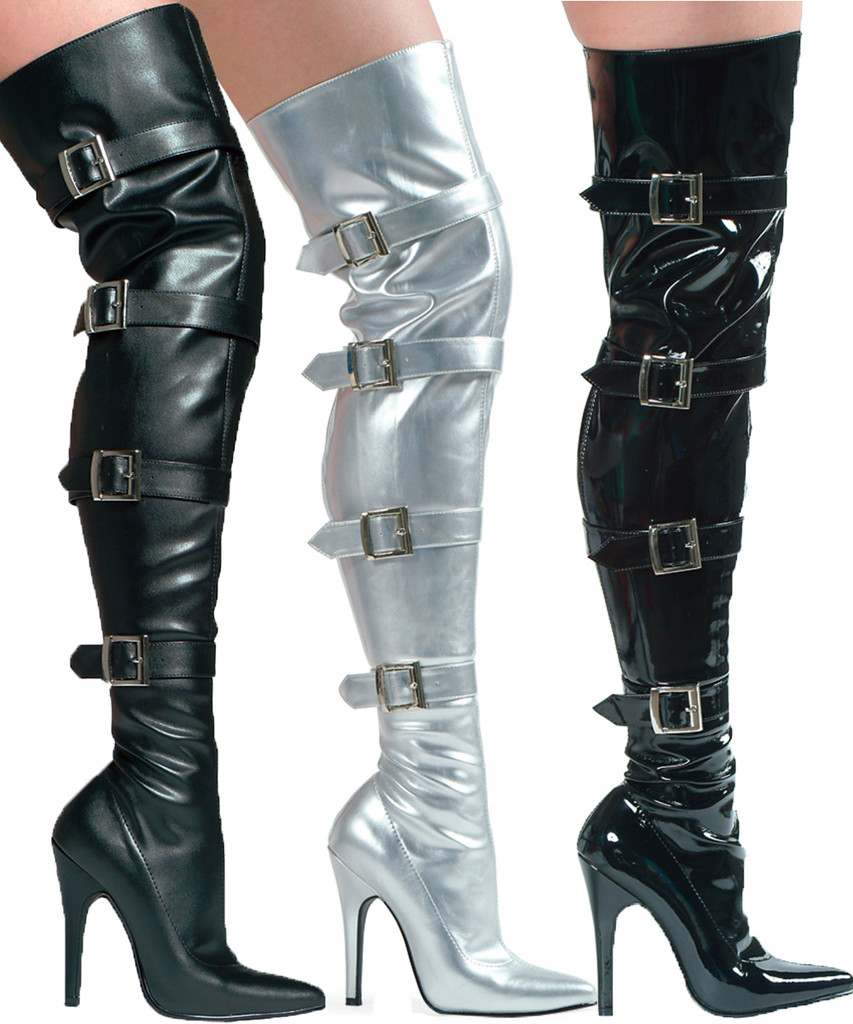 Thigh High Boot w Buckles - Up to Size 14