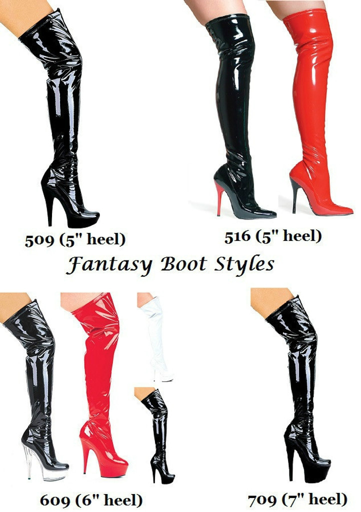 "6"" Stiletto Thigh High Stretch Boots - Sz 5-12"