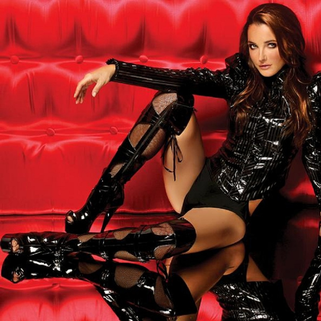 Vinyl and Fishnet Thigh Hi Peep Toe Boots - Up to Size 14