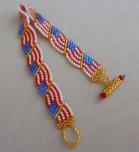 Beautiful Hand Woven USA Flag Bracelet - 7.25 inches