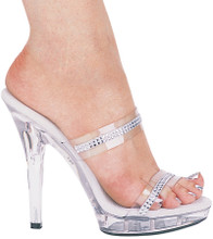 "Clear Mule Style Sandal w 5"" Heel and Rhinestone Detail - Sizes 5 to 12"
