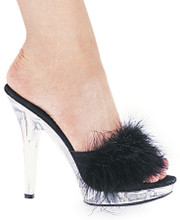"""5"""" Heel Maribou Mule Sandals - Available in 4 Colors & Sz 5 - 12"""