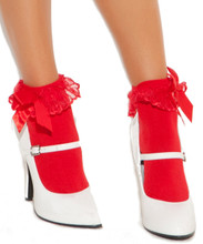Nylon Anklet Stockings with Back Bow - Available in Black, White, Red and Pink - O/S