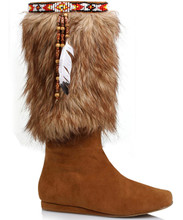 "1"" Heel Calf High Boots w Faux Fur and Beaded Detail - Sz 6 - 10"