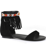 """0"""" Heel Sandal with Beaded Indian Motif and Fringe"""