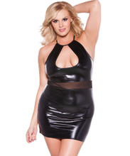 Wet Look and Mesh Halter Mini Dress w Low Cut Neckline - Size XL Only