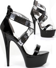 "6"" Metallic Stiletto Sandal w Criss Cross Foot Straps - Sz 5 - 12"