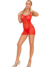 Slip Style Fishnet Mini Dress w Matching G-String - Sizes O/S and XL