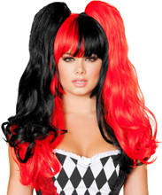 Red & Black Jester Wig - Front -  © 2016 Roma Costumes, Inc.