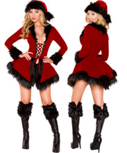 Santa Chic Set - Red w Black Trim - Front / Back -  © 2016 Roma Costumes, Inc.