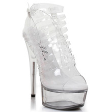 "6"" Peep Toe Stilleto Heels Shoes w Clear Platform & Foot Straps - Black or Clear - Sz 6 - 12"