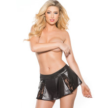 Lace and Wet Look Flared Mini Skirt - Size O/S