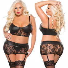 Lace and Wet Look Top and Garter Set - 3 Pc Set in XL Only