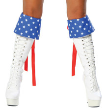 Pair of Red, White & Blue Boot Cuffs - Genuine Roma Product