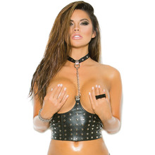 Leather Cupless Chain Top w Nail Heads & Lyrca Zip Back Closure - Sz S - 3X
