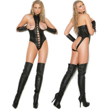 Leather Cupless Teddy w Lace-Up Front & Open Back - Sizes S-3X