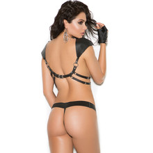Leather Shoulder Harness and G-String Set - Sizes OS and XL