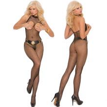 Black Fishnet Body Stocking w Open Bust & Crotch - O/S, XL