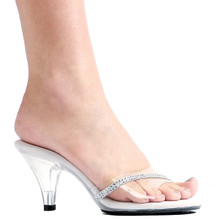 """3"""" Clear Mule w Rhinestones - Sizes from 5 to 16"""