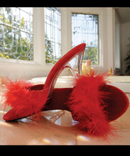 "Maribou Slipper w 3"" Heel - up to size 16"