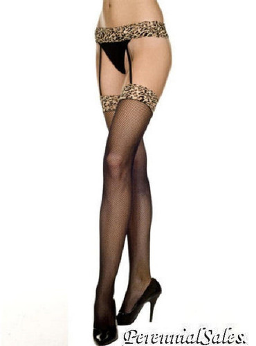Leopard Fishnet Thigh Hi w/ Garter Belt Pantyhose