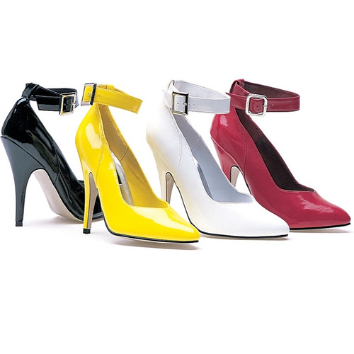 """5"""" Closed Toe Pump w Ankle Strap - up to size 14"""