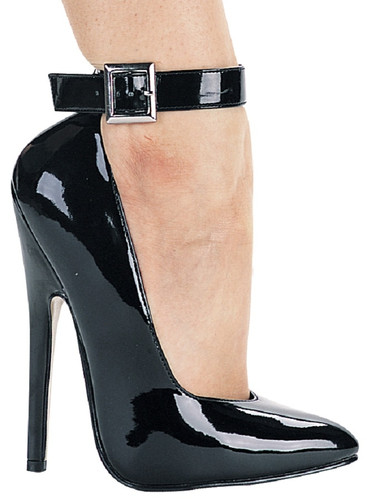 """6"""" Heel Fetish Pump w Ankle Strap - Sizes 5 to 14"""