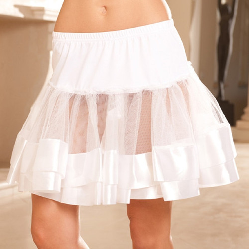 Satin Trim Petticoat - OS and XL - Black, White or Red