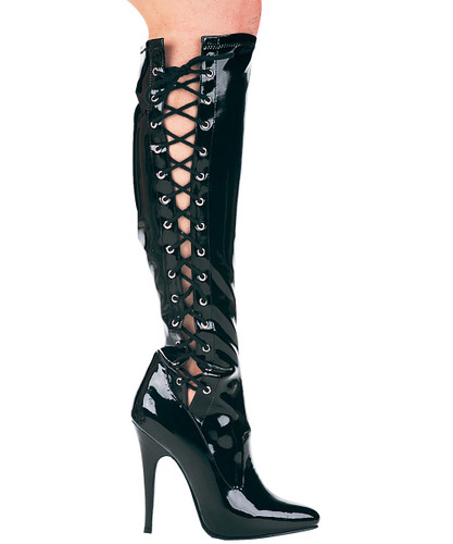 "5"" Knee High Boot w Lace Up Sides and Inner Zipper - Up to Size 14"