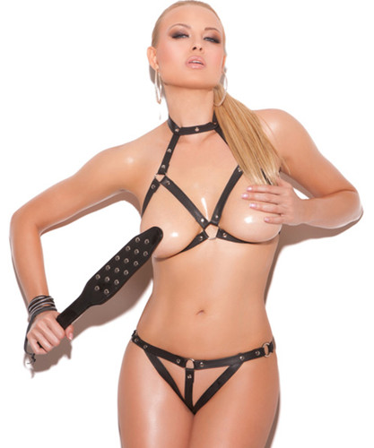 Leather Bra with G-String - Open Bust and Crotch