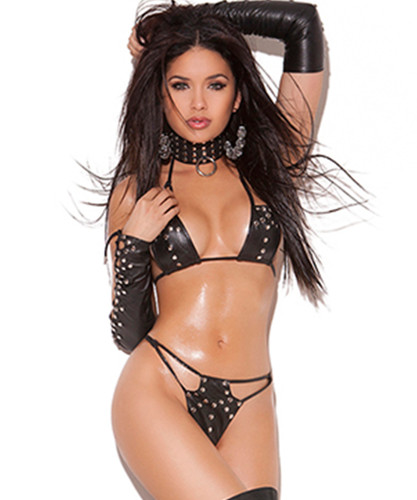 Leather String Bra, G-String and Gloves Set - O/S