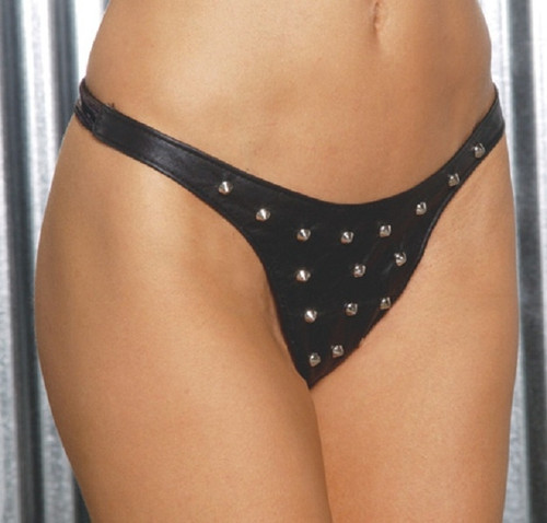 Leather Thong with Stud Detail - O/S and XL