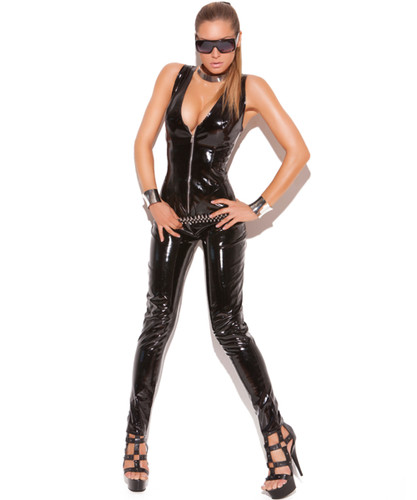 Deep V Vinyl Cat Suit with Zipper Front - Small to 3X