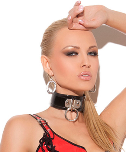 Vinyl Choker with Front O-Ring - O/S