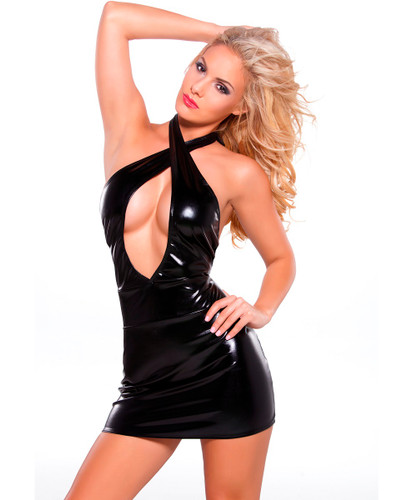 Wet Look Mini Dress w Criss Cross Front & Halter Style Back - O/S