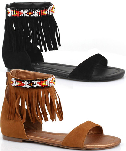"0"" Heel Sandal with Beaded Indian Motif and Fringe"
