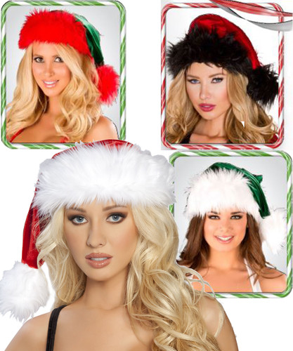 Velvet w Faux Fur Trim Santa Hat - 4 Colors - Genuine Roma Product