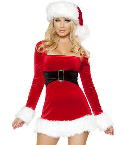 Long Sleeved Mini Dress w Built-in Belt and Fur Trim - Sizes S/M and M/L - Genuine Roma Product