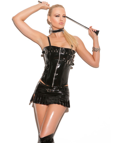 Vinyl Corset w Buckles - Zipper Front, Lace Up Back - Sz 32 - 44