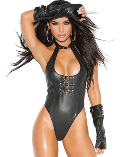 Leather Teddy w Buckle Front Detail and Thong Back - O/S