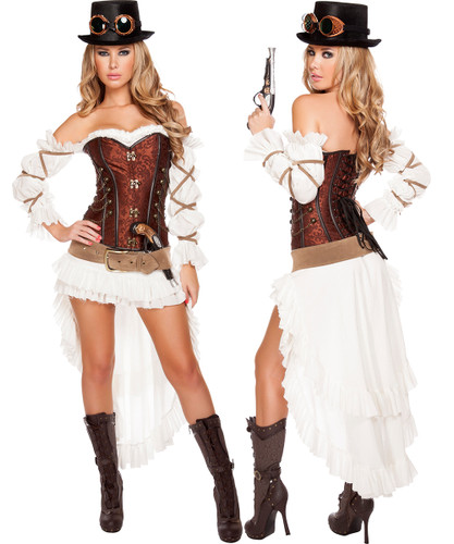 7 Pc Sexy Steampunk Babe - Outfit & Accessories Included - Sz S-L - Genuine Roma Product