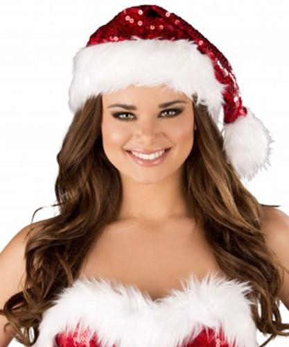 Santa Hat with Red Sequin & White Faux Fur Trim - Genuine Roma Product