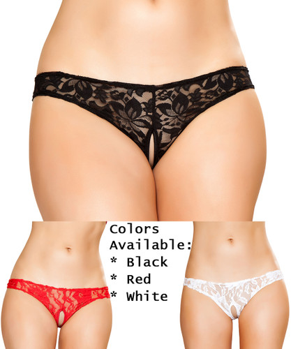 Cutout Lace Thong Shorts - BULK PRICING Available - 3 Colors in Sizes S - 4X - Genuine Roma Product