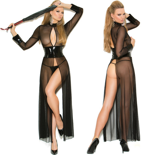 Mesh & Vinyl Long Sleeved Gown w Matching G-String - up to 3X