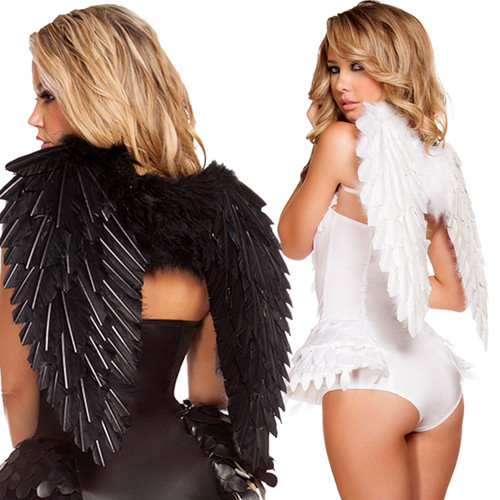 Feathered Wings in BLACK or WHITE for a Costume Fun Accessory - O/S - Genuine Roma Product