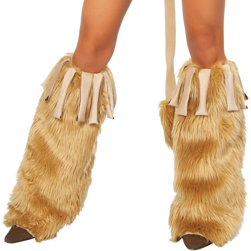 Pair of Faux Fur Leg Warmers w Fringe - Genuine Roma Product