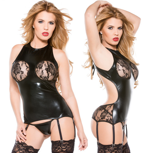 Lace & Wet Look Corset - Size O/S