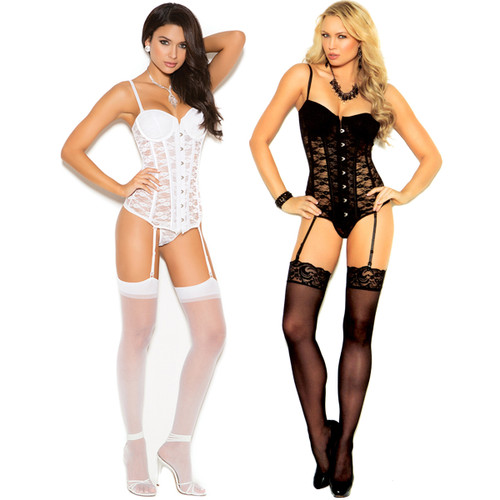 Bustier w Matching G-String - White or Black - Sz 32 - 44