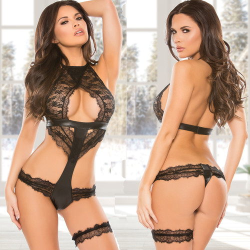 Lace & Wet Look Teddy - Front & Back